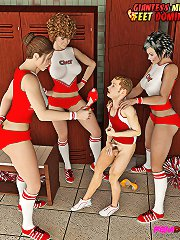 Poor guy gets busted and punished by three horny cheerleaders.